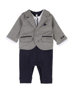 ROMPER GREY NAVY KNIT IMITATION JACKET