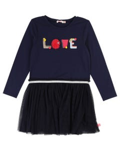 DRESS NAVY KNIT+TULLE  LONG SLEEVE LOVE