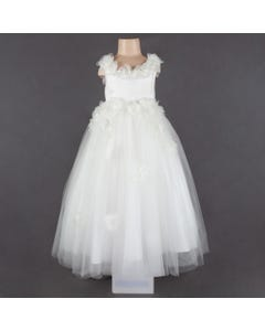 DRESS IVORY FLOWER APPLICAY PEARL CENTER BACKTRAIN