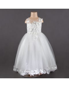DRESS IVORY TULLE FLOWER APPLICAY BODICE & HEM TRAIN