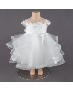 DRESS OFFWHITE LACE BODICE HORSE HAIR TRIM TULLE LAYERS