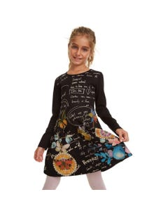 DESIGUAL DRESS DURANGO BLACK BIRD  WRITING PRINT LONG SLEEVE Sizes 4-12 | 19WGVK28 BLACK