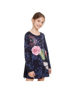 DESIGUAL DRESS TOLUCA NAVY MULTI COLORED FLORAL PRINT LONG SLEEVE Sizes 4-12 | 19WGVK29 NAVY