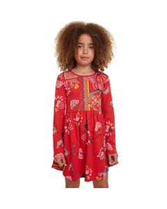 DESIGUAL DRESS IXTAPALUCA RED PINK FLORAL PRINT LONG SLEEVE Sizes 4-12 | 19WGVK42 RED