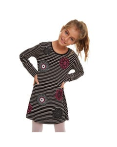 DESIGUAL DRESS PASAS BLACK   BEIGE STRIPE MULTI ABSTRACT PRINT Sizes 4-12 | 19WGVK91 BLACK