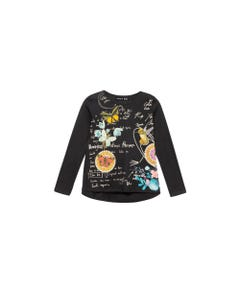 DESIGUAL TSHIRT READING BLACK BIRD  FLOWER PRINT LONG SLEEVE Sizes 4-14 | 19WGTK25 BLACK
