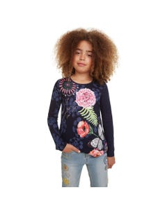 DESIGUAL TSHIRT DERBY NAVY FLORAL PRINT MULTI LONG SLEEVE Sizes 4-12 | 19WGTK26 NAVY