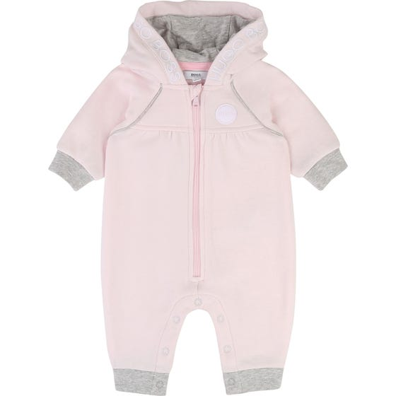 HUGO BOSS ROMPER PINK HOODED ZIP CLOSURE GREY TRIM EMBRODIED LOGO Sizes 3m-12m | J94238 PINK