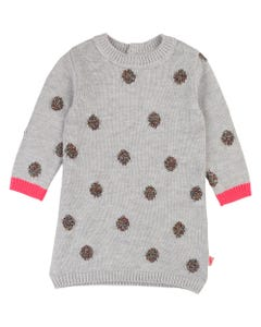 BILLIEBLUSH KNIT DRESS GREY MULTI EMBROIDERY DOTS LONG SLEEVE Sizes 2-8 | U02249 GREY