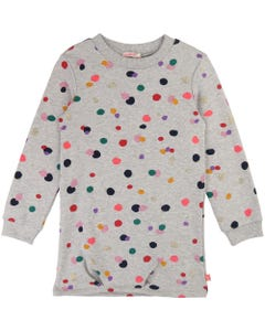 BILLIE BLUSH KNIT DRESS GREY MULTI COLORED DOTS PRINT LONG SLEEVE Sizes 2-8 | U012500 GREY