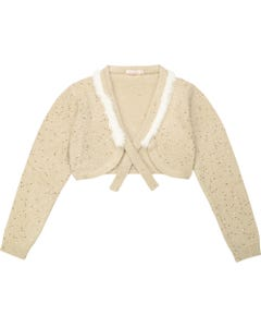 BILLIE BLUSH BOLERO CARDIGAN GOLDEN WITH SEQUINS & FUR TRIM Sizes 2-8 | U15640 GOLD