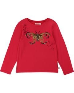 BILLIE BLUSH TSHIRT RED GOLD & NAVY BUTTERFLY PRINT LONG SLEEVE Sizes 2-8 | U15674 RED