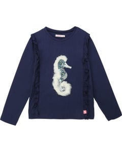 BILLIE BLUSH TSHIRT NAVY SEAHORSE SEQUIN & FUR TRIM FRILL EDGING Sizes 2-8 | A15682 85T NAVY