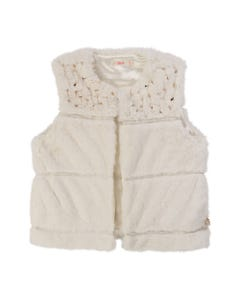 BILLIE BLUSH VEST IVORY FAUX FUR SLEEVELESS GOLD SEQUINS TRIM Sizes 2-8 | A16218 IVORY
