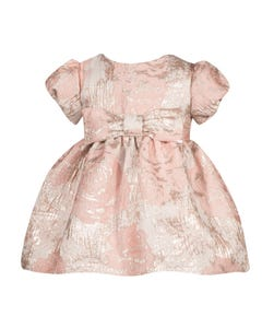 PATACHOU DRESS PINK EMBOSSED ROSES PRINT FRONT BOW SHORT SLEEVE Sizes 2-8 | 2933272 PINK