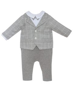 PATACHOU TUXEDO ROMPER GREY CHECK WHITE SHIRT BOWTIE Sizes 2-8 | 2933382.1454A GREY