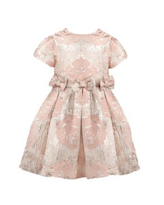 PATACHOU DRESS PINK GOLD & PINK EMBOSSED ROSES PRINT 3 BOW & PLEATS Sizes 2-8 | 2933504 PINK
