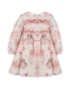 PATACHOU DRESS PINK FLORAL CHIFFON  2 FLOUNCES TRIM BODICE LONG SLEEVE Sizes 2-8 | 2933505 PINK