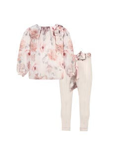 PATACHOU 2PC.BLOUSE & PANT PINK & GREY FLORAL CHIFFON VELVETEEN PANT Sizes 2-8 | 2933506 PINK