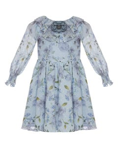 PATACHOU DRESS BLUE & GREEN FLORAL CHIFFON FLOWER COLLAR TRIM  DOT  TRIM Sizes 2-8 | 2933536 BLUE