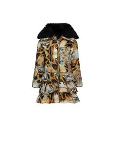 LE CHIC COAT MULTI COLORED CHAINED CHEETAH PRINT HOOD FUR COLLAR FLOUNCES Sizes 2-8 | C9075207 MULTI