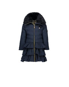 LE CHIC COAT NAVY HOOD RUFFLES FUR TRIM Sizes 2-8 | C9075214.190 NAVY