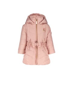 LE CHIC COAT & BELT PINK QUILTED HOOD WITH FAKE FUR BALLS Sizes 2-8 | C9077211211 PINK