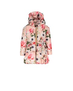 LE CHIC COAT PINK ROSES FLORAL PRINT HOOD 2 BOWS TRIM Sizes 2-8 | C9077212 PINK