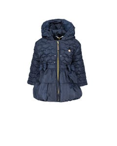 LE CHIC COAT NAVY HEART SHAPED QUILT HOOD SEQUIN TRIM 2 BOWS RUFFLE Sizes 2-8 | C907722190 NAVY