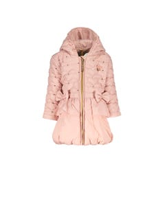 LE CHIC COAT PINK HEART SHAPED QUILT HOOD SEQUIN TRIM 2 BOWS RUFFLE Sizes 2-8 | C9077222211 PINK
