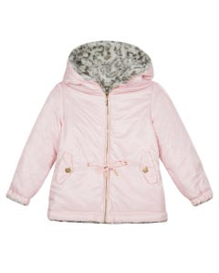 LILI GAUFRETTE JACKET PINK & LEOPARD REVERSIBLE HOOD  Sizes 2-8 | GP41022 PINK