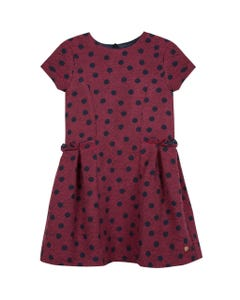 LILI GAUFRETTE DRESS RED NAVY DOTS SHORT SLEEVE PLEATS Sizes 2-8 | GP30012 RED