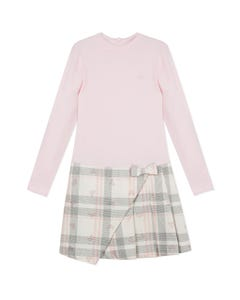 LILI GAUFRETTE DRESS PINK KNIT & GREY PLAID SKIRT  LONG SLEEVE Sizes 2-8 | GP30022 PINK