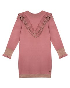 LILI GAUFRETTE DRESS ROSE KNIT GOLD TRIM ON FLOUNCE & HEM & SLEEVE  Sizes 2-8 | GP30322 PINK