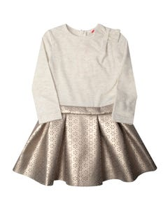 DRESS CREAM KNIT CUTOUT PLEATHER SKIRT PLEATS LONG SLEEVE
