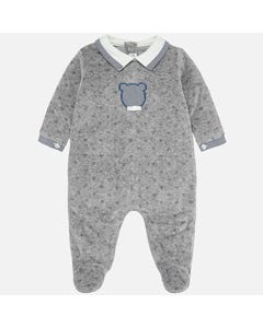 MAYORAL PYJAMA GREY VELOUR WHITE COLLAR WITH BLUE STRIPE & BEAR FACE Sizes 1m-18m | 2718 096 GREY
