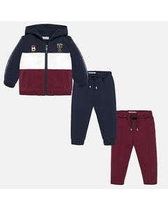 MAYORAL 3PC.TRACKSUIT NAVY BURGUNDY WHITE HOODED ZIP CLOSURE Sizes 6m-36m | 2842 NAVY
