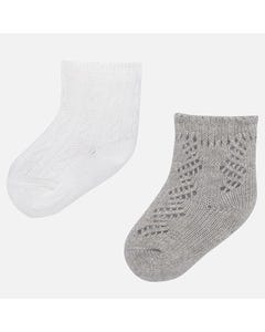 MAYORAL 2 PACK SOCK GREY AND CREAM SHORT Sizes 3m-18m | 9162 MULTI