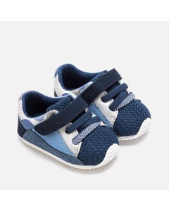 MAYORAL SHOE  3 TONE BLUE NAVY GREY TRAINER SOLE BOTTOM VELCRO Sizes 16-18 | 9211 MULTI