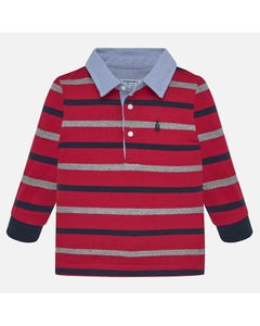 MAYORAL POLO TOP-RED NAVY GREY STRIPE BLUE CHAMBRAY COLLAR LONG SLEEVE Sizes 6m-36m | 2108 MULTI