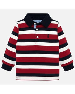MAYORAL POLO TOP STRIPE RED WHITE NAVY LONG SLEEVE NAVY COLLAR Sizes 6m-36m | 2105 RED
