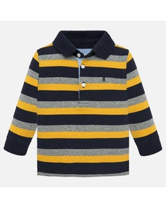 MAYORAL POLO TOP STRIPE NAVY YELLOW GREY LONG SLEEVE Sizes 6m-36m | 2105 MULTI
