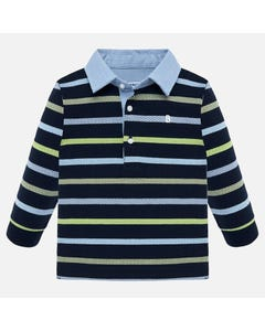 MAYORAL POLO TOP STRIPE NAVY GREEN BLUE LONG SLEEVE CHAMBRAY COLLAR Sizes 6m-36m | 2108 MULTI