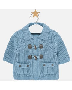 MAYORAL KNIT CARDIGAN BLUE TOGGLE CLOSURE 2POCKETS WITH BUTTON TRIM Sizes 3m-18m | 2309 BLUE