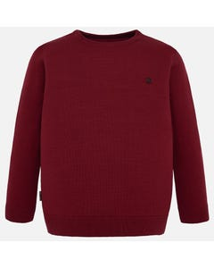 MAYORAL SWEATER MAROON COTTON KNIT LONG SLEEVE ROUND COLLAR Sizes 8-18 | 354-044 RED