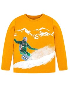 MAYORAL TSHIRT YELLOW LONG SLEEVE SNOWBOARDER PRINT Sizes 2-9 | 4021-088 YELLOW