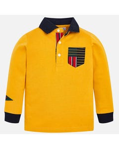MAYORAL POLO TOP YELLOW NAVY COLLAR AND CUFF MULTI COLOR POCKET Sizes 2-9 | 4112.093 YELLOW