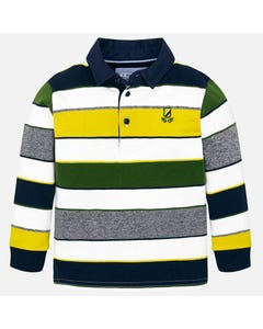 MAYORAL POLO TOP WHITE GREEN YELLOW NAVY GREY STRIPE NAVY COLLAR CUFF Sizes 2-9 | 4114.011 MULTI