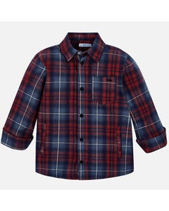 Mayoral OVERSHIRT RED NAVY CHECK LONG SLEEVE WITH POCKET Sizes 2-9 | 4117 RED