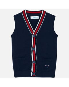 Mayoral KNIT VEST NAVY WHITE RED AND WHITE TRIM 4 BUTTONS  CLOSURE Sizes 2-9 | 4320.071 NAVY